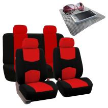 FH Group Bright Flat Cloth Full Set Car Seat Covers, Red/Black w Fit Most Car, Truck, SUV, or Van