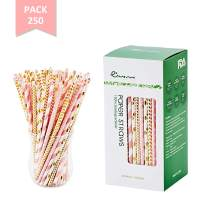 EASY ROAD 250-Pack Biodegradable Paper Straws Bulk - 5 Different Colors Pink/Gold Drinking Straws For Party Supplies, Birthday, Wedding, Bridal/Baby Shower Decorations, Holiday Celebrations