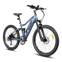 eAhora AM100 Professional 27.5 Inch Mountain Electric Bicycle 48V 10.4Ah Removable Lithium Battery Hydraulic Brakes Full Air Suspension 350W Ebike E-PAS Regeneration 9 Speed