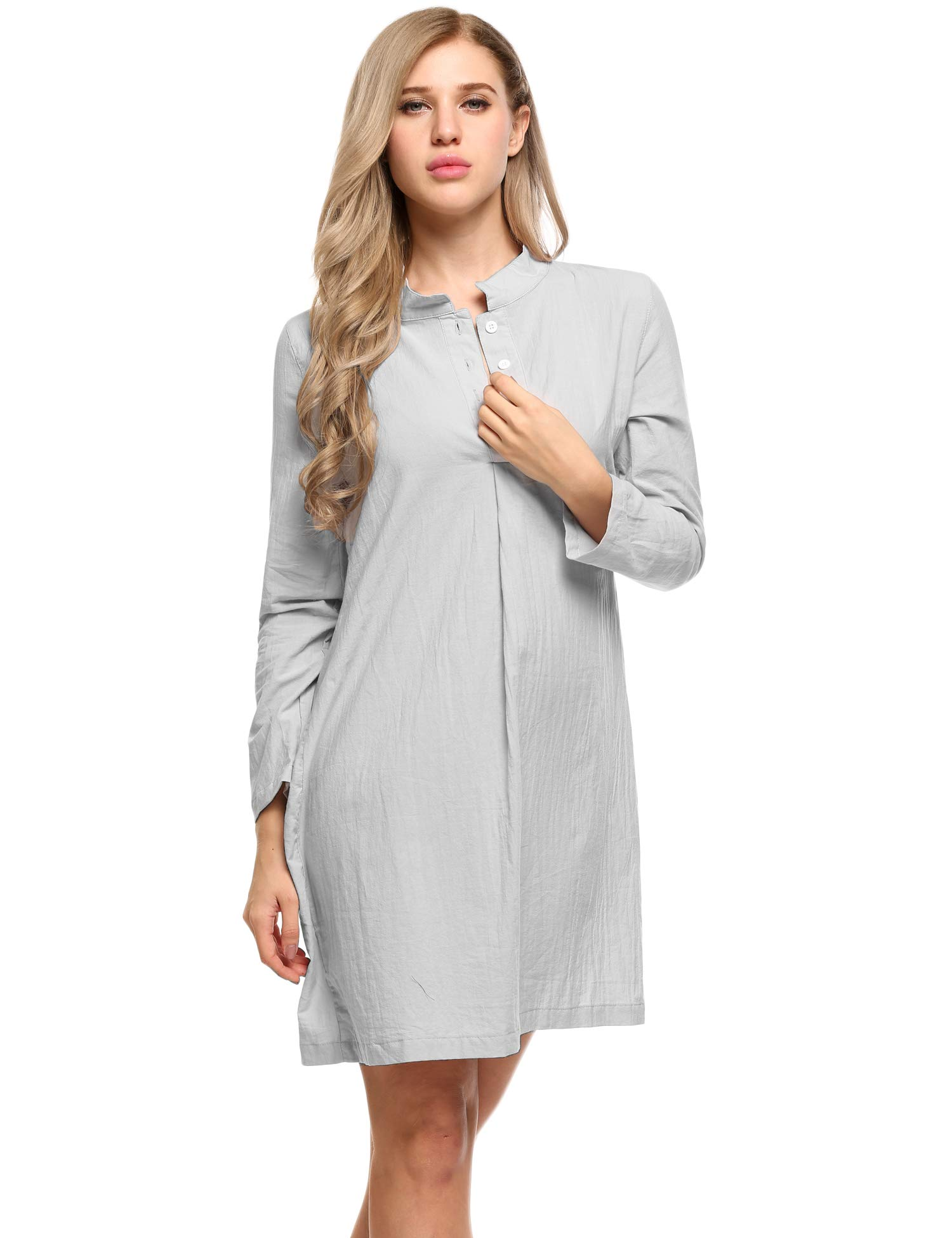 Ekouaer Women Bofriend Sleepwear 3/4 Sleeve Nightgown Pajama Top Buttom Up Nightshirt with Front Pocket S-XL
