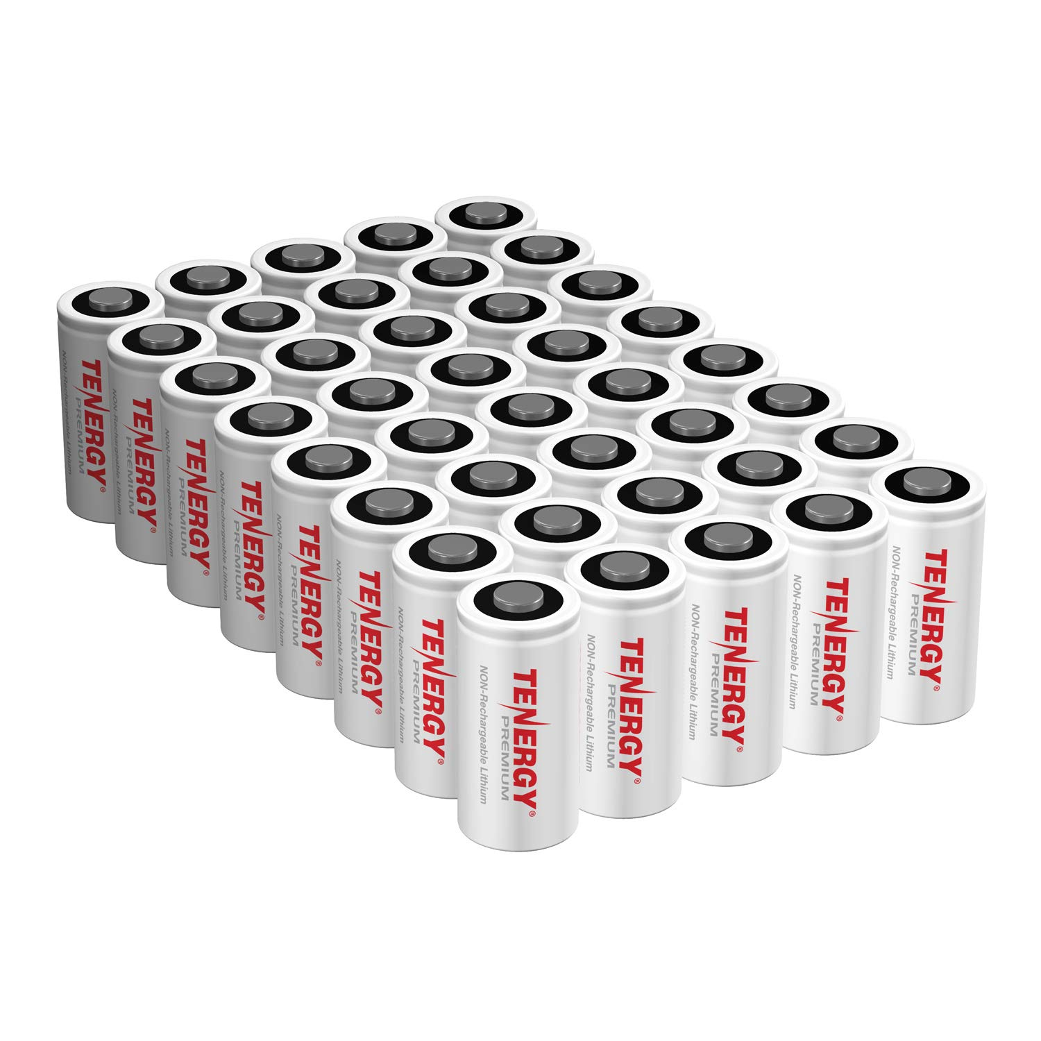 Tenergy Premium CR123A 3V Lithium Battery, [UL Certified] 1600mAh Photo Lithium Batteries, Security Cameras, Smart Sensors, Specialty Devices, 40 Pack (Non-Rechargeable), PTC Protected