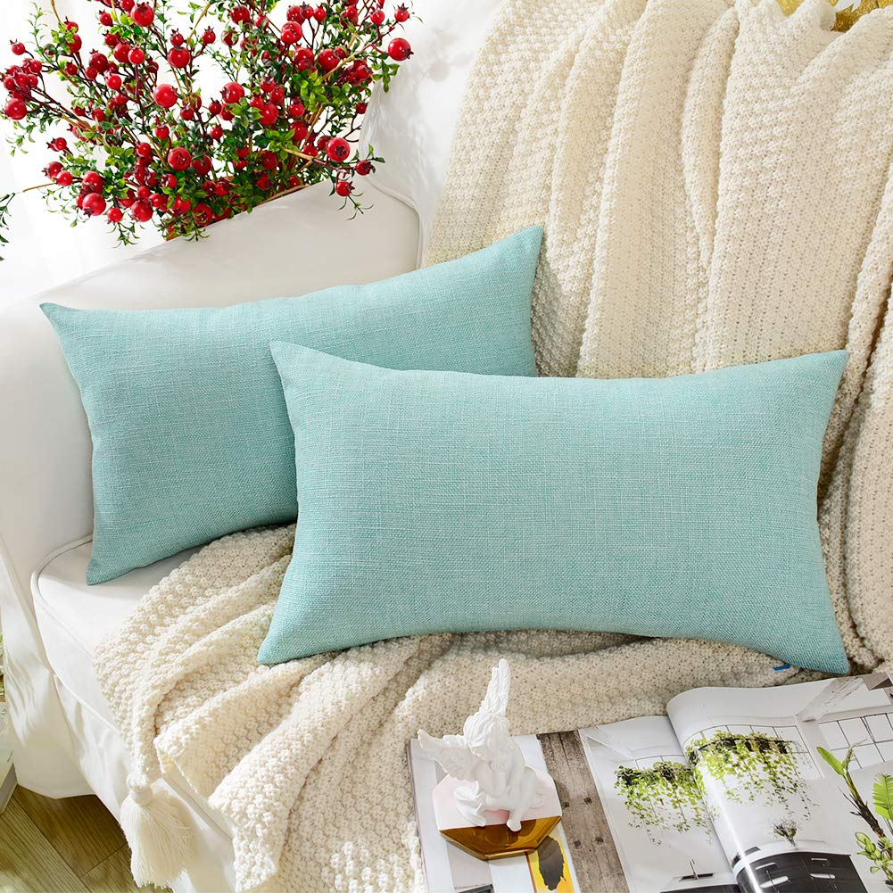MERNETTE New Year/Christmas Decorations Cotton Linen Blend Decorative Rectangle Throw Pillow Cover Cushion Covers Pillowcase, Home Decor for Party/Xmas 12x20 Inch/30x50 cm, Green, Set of 2