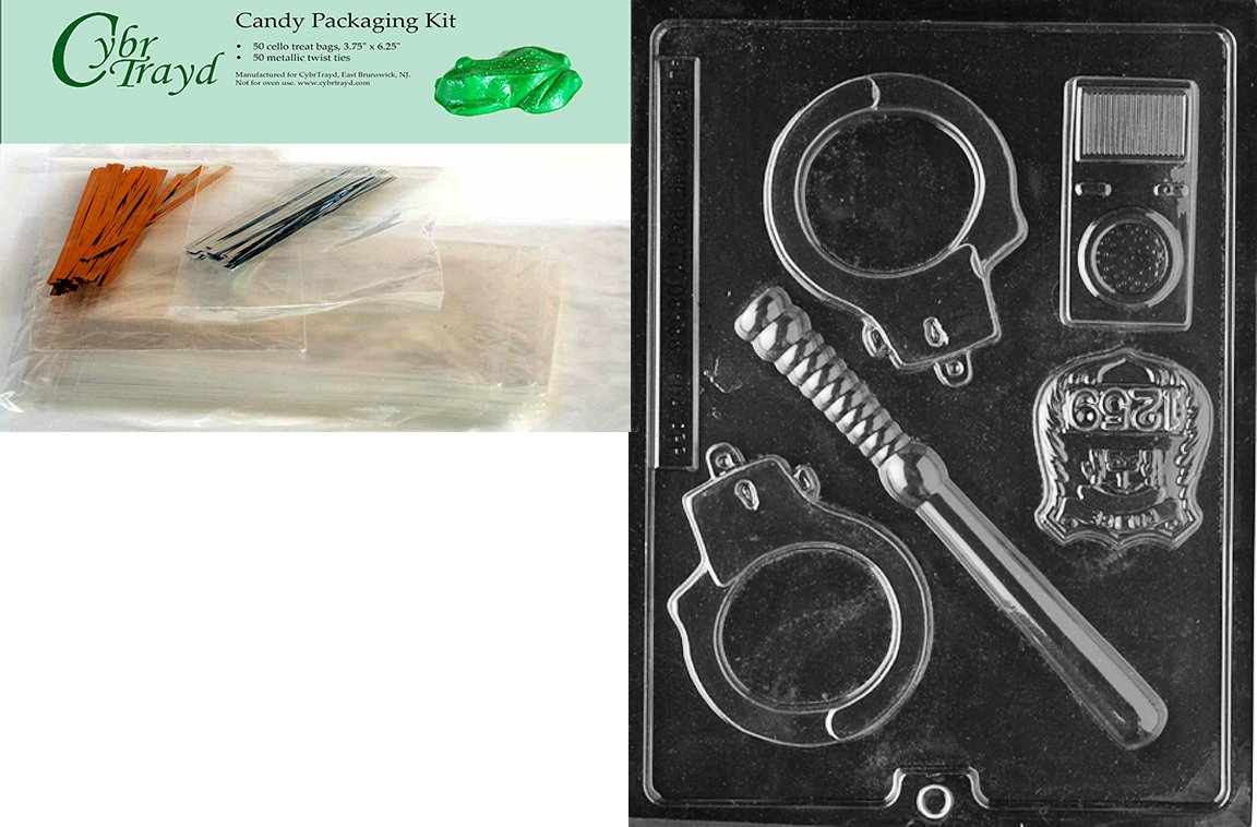 Cybrtrayd Policeman Set Jobs Chocolate Candy Mold with Packaging Bundle of 50 Cello Bags, 25 Gold and 25 Silver Twist Ties and Chocolate Molding Instructions