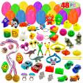 """48 Prefilled Easter Eggs with Surprise Toy in 2 3/8"""" Filled Eggs for Easter Hunt Basket Stuffers"""