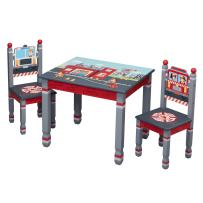 Fantasy Fields - Little Fire Fighters Kids Wooden Table & Set of 2 Chairs Hand Painted Lead Free Water-based Paint