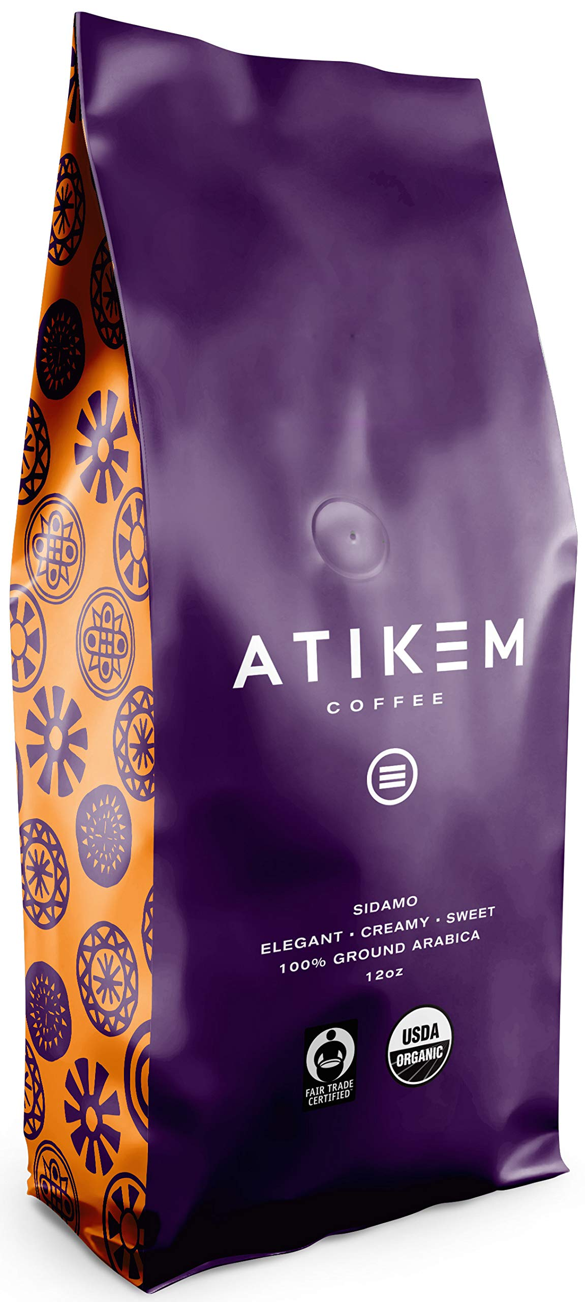 ATIKEM Organic Ethiopian Sidamo Coffee Ground, Creamy Medium Roast, 100% Premium Arabica Coffee, USDA Organic Fairtrade Certified Coffee (12 ounce) (Pack of 1)