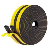 Fowong Adhesive Weather Stripping 2 Rolls, 1/2 Inch Wide X 1/4 Inch Thick, Foam Tape for Window AC, Garage Door and Automotive, 2 Rolls X 13 Ft, Total 26 Feet Length