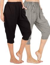 WEWINK CUKOO Women Cotton Capri Pajama Pants Cropped Lounge Pants with Pockets Harem Pants