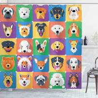 "Ambesonne Dog Shower Curtain, Dog Breeds Profiles Pets Shepherd Terrier Labrador Domestic Animals Illustration, Cloth Fabric Bathroom Decor Set with Hooks, 70"" Long, Purple Green"