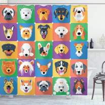 "Ambesonne Dog Shower Curtain, Dog Breeds Profiles Pets Shepherd Terrier Labrador Domestic Animals Illustration, Cloth Fabric Bathroom Decor Set with Hooks, 70"" Long, Purple Green"