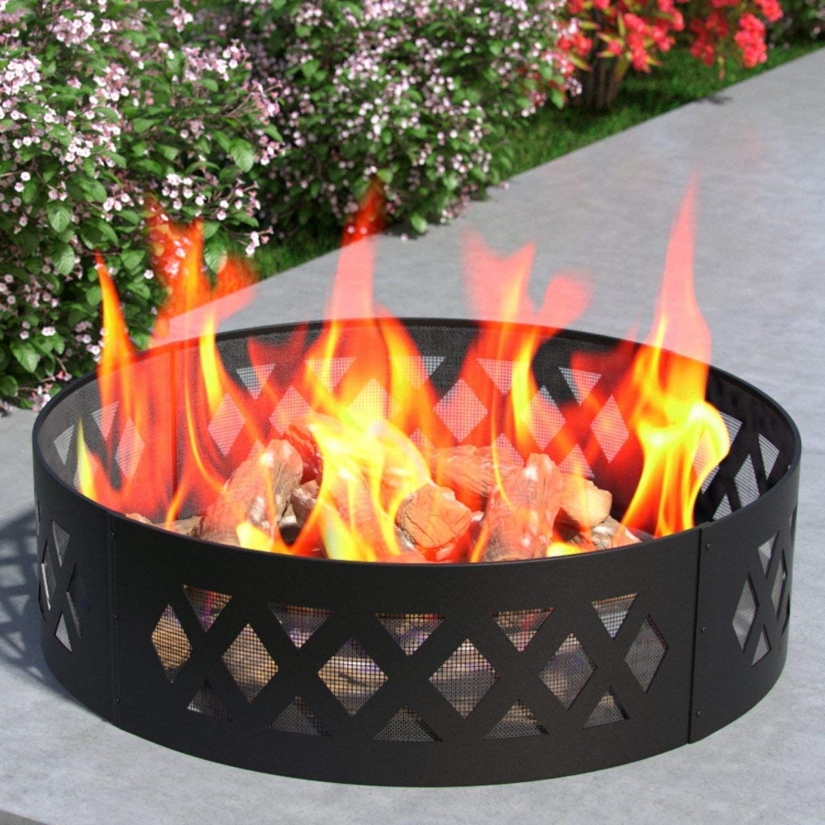 """Regal Flame Heavy Duty 38"""" Crossweave Wood Fire Pit Fire Ring Heavy-Duty and Perfect for RV, Camping, and Outdoor Fireplace"""