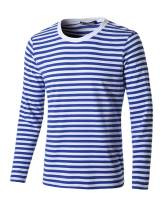 uxcell Men's Striped T Shirt Crew Neck Long Sleeve Casual Cotton Pullover Tee Top
