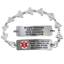 Divoti Custom Engraved Medical Alert Bracelets for Women, Stainless Steel Medical Bracelet, Medical ID Bracelet w/Free Engraving – Classic Tag w/Trinity Knot Chain – Color/Size