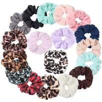 Jaciya 18 Pack Women's Hair Scrunchies Hair Bow Chiffon Ponytail Holder, including 12 Colors Chiffon Hair Scrunchie, 6 Colors Leopard Hair Ties Scrunchy (Chiffon Scrunchies for Hair 18 Pcs)