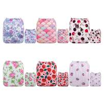 ALVABABY New Design Reuseable Washable Pocket Cloth Diaper 6 Nappies + 12 Inserts 6DM23