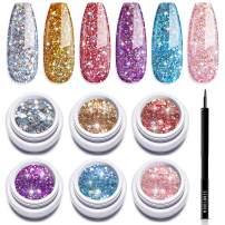 Modelones Glitter Gel Nail Polish Set - 6 Color, Soak Off UV LED Super Platinum Glitter Gail Polish Nail Gel Varnish Manicure Kit 5 ml