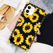 Square Case Compatible iPhone 11 2019 6.1 Inch Sunflower Luxury Elegant Soft TPU Shockproof Protective Metal Decoration Corner Back Cover Case iPhone 11 Case