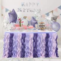 Purple Curly Willow Table Skirting Mermaid 6ft Lace Taffeta Table Skirt Tutu Tulle Table Skirt for Round or Rectangle Table for Birthday, Wedding, Party Decoration Supplies