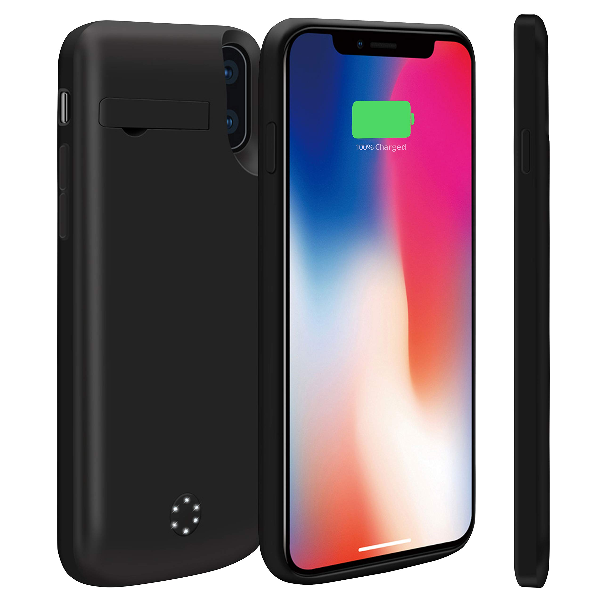 Never Run Out NRO iPhone X Charger Case Upgraded 6000mAh Portable Rechargeable Extended Battery Pack Protective Charging Case with Tempered Glass Screen Protector + Kickstand