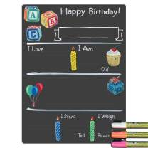 Cohas Birthday Milestone Board with Basic Designs, Reusable Chalkboard Style Surface, and Liquid Chalk Markers, 12 by 16 Inches, 3 Bright Markers