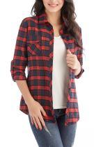 Jug&Po Womens Casual Cuffed 3 4 Long Sleeve Plaid Button Down Shirts Blouse Tops