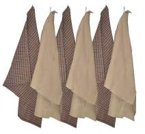 Kitchen Towels (Pack Of 6)-100% Premium Cotton -Machine Washable - Plain Weave-Pattern Gingham Checkerd-Dish Towels, Tea Towels, 18 X 26 Inches, Beige and Brown