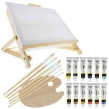 "US Art Supply 21-Piece Oil Painting Table Easel Set with, 12-Tubes Acrylic Painting Colors, 11""x14"" Stretched Canvas, 6 Artist Brushes, Wood Palette"