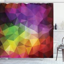 """Ambesonne Abstract Shower Curtain, Colorful Abstract Geometric Shapes with Triangular Polygons Creative, Cloth Fabric Bathroom Decor Set with Hooks, 84"""" Long Extra, Yellow Purple"""