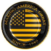 "Crisky 40th Birthday Plates Black and Gold Dessert, Buffet, Cake, Lunch, Dinner Plates for 40th Birthday Decorations Party Supplies, Making America Great Since 1980. 50 Count, 9"" Plate"