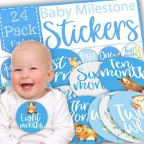 Monthly Milestone Baby Stickers, Baby Milestone Stickers for Boys, First Year Baby Stickers, Baby Monthly Milestone Stickers for Boys, Original Cute Designs, Gift Packed, Pack of 24 Giant Stickers