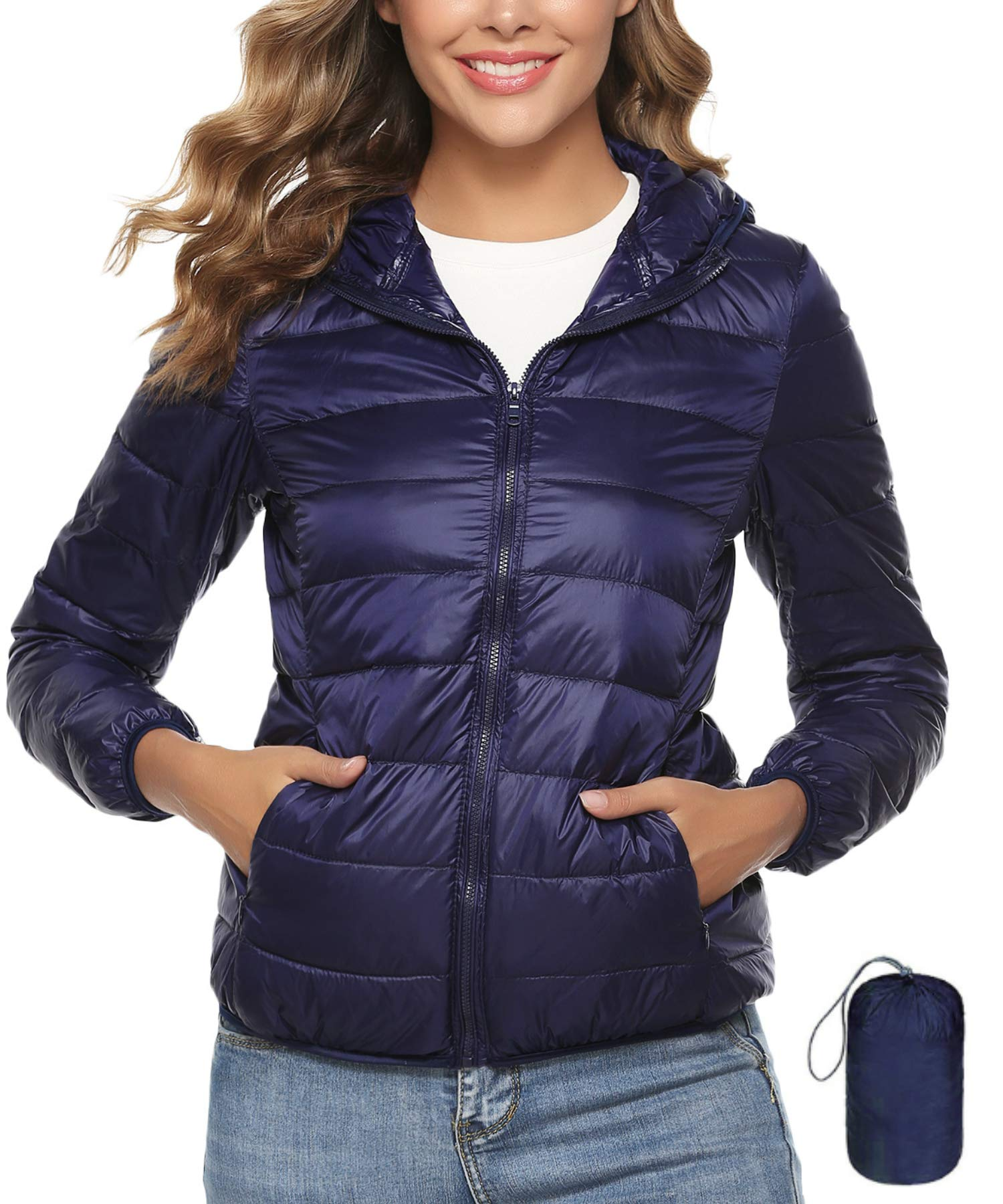 Hawiton Women's Lightweight Insulated Packable Jacket Hooded Down Jackets Parkas