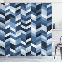 "Ambesonne Navy Shower Curtain, Soft Pastel Toned Modern Herringbone Pattern with Zigzag Twisty Stripes Image, Cloth Fabric Bathroom Decor Set with Hooks, 75"" Long, Slate Blue"