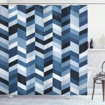 "Ambesonne Navy Shower Curtain, Soft Pastel Toned Modern Herringbone Pattern with Zigzag Twisty Stripes Image, Cloth Fabric Bathroom Decor Set with Hooks, 70"" Long, Slate Blue"