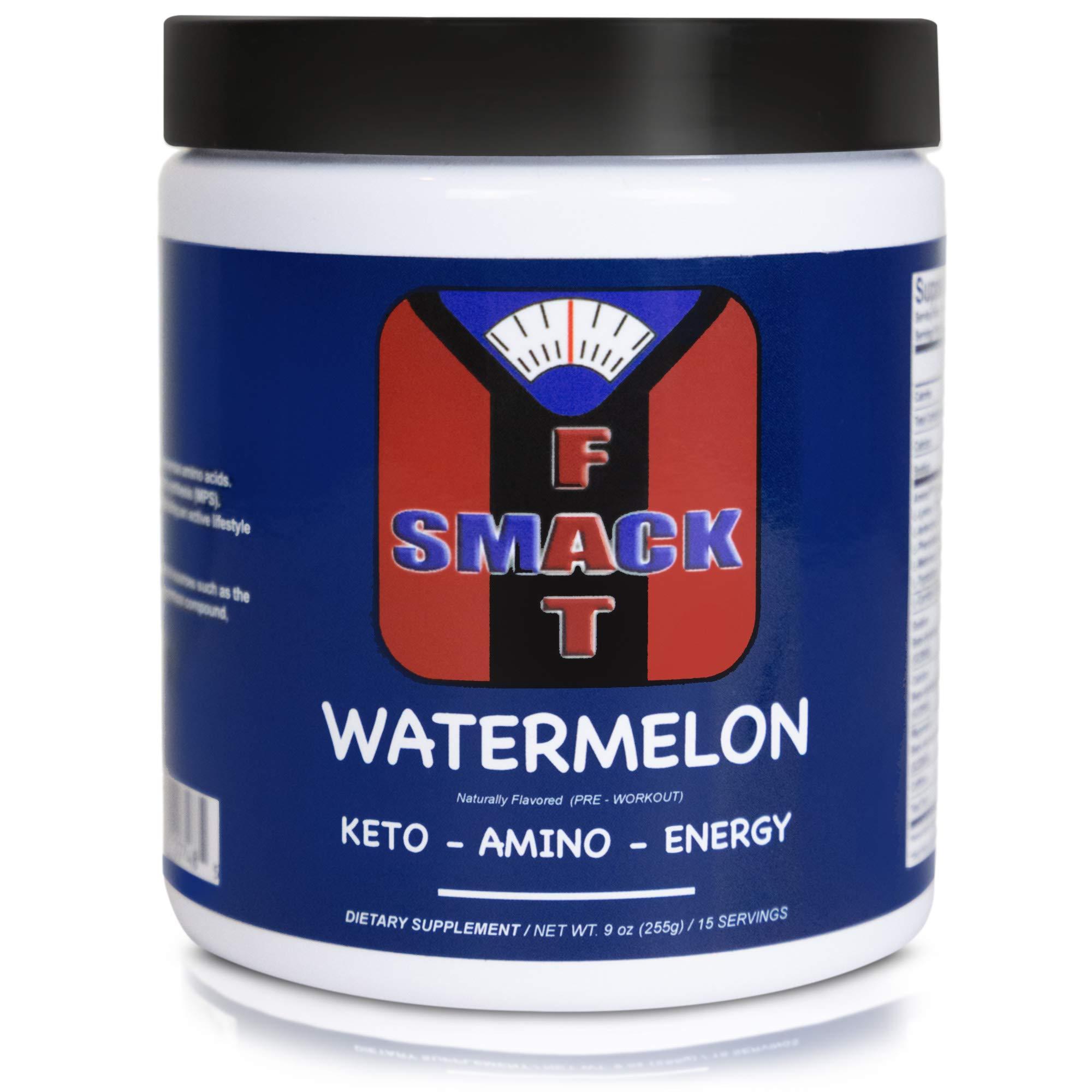 Smackfat Keto Amino Energy - Keto Pre Workout Powder - BHB Exogenous Ketones + BCAAS Amino Acids (Amino9) + TeaCrine - Keto Powder for Weight Loss (Watermelon)