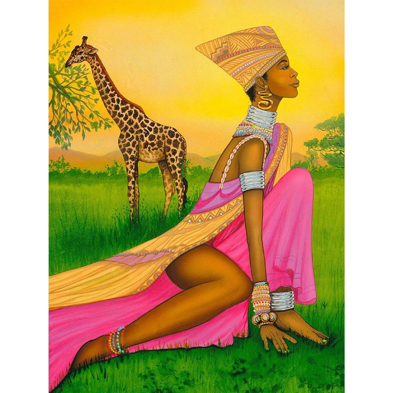 Diamond Painting Grass African Woman and Giraffe Full Drill by Number Kits, SKRYUIE DIY Rhinestone Pasted Paint with Diamond Set Arts Craft Decorations (12x16inch)