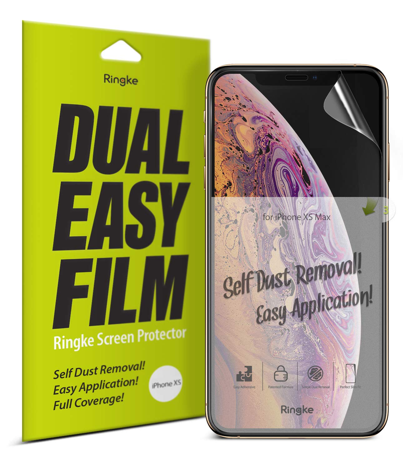 Ringke Dual Easy Film (2 Pack) Designed for iPhone X (2017), iPhone Xs (2018), iPhone 11 Pro (2019) Screen Protector