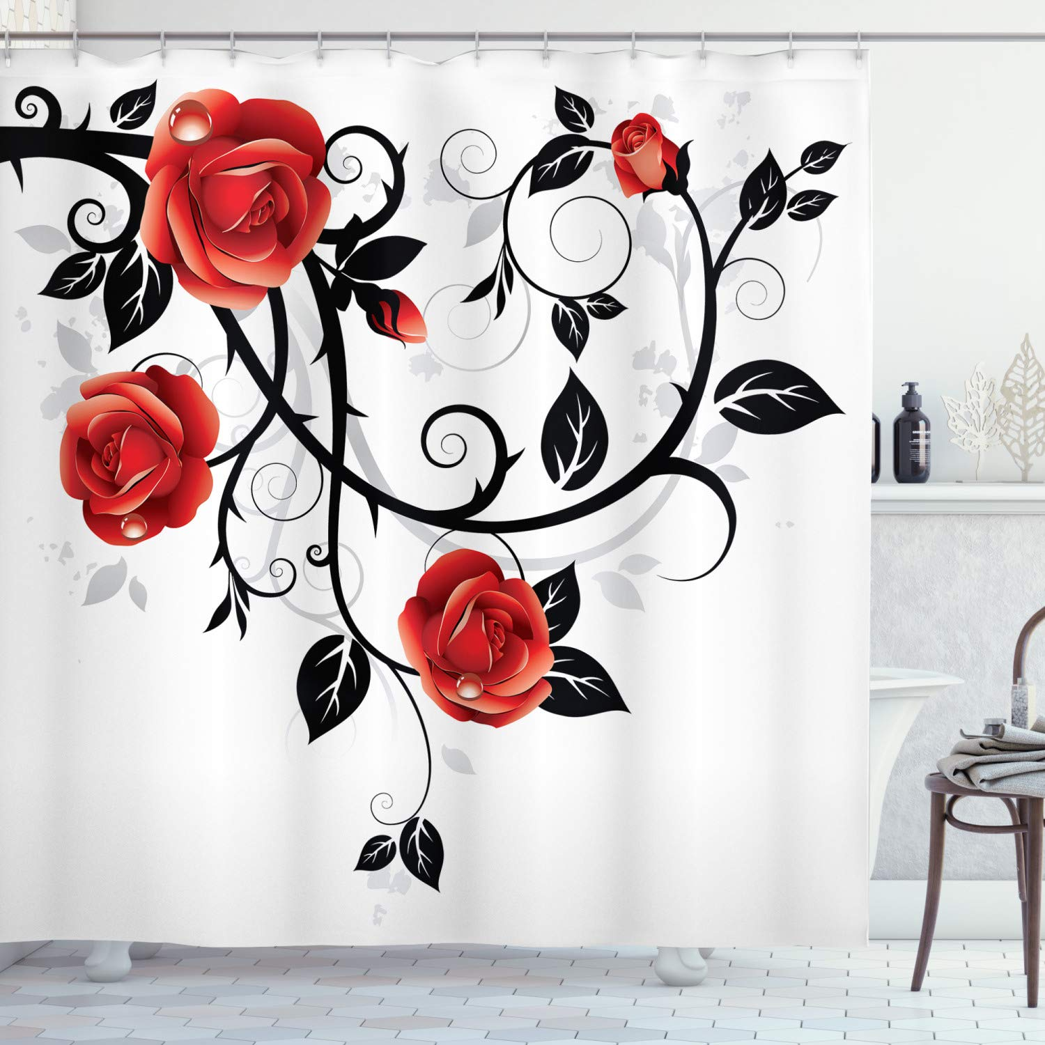 """Ambesonne Gothic Shower Curtain, Ornate Swirling Branches with Roses Garden Flower Grunge Style European, Cloth Fabric Bathroom Decor Set with Hooks, 70"""" Long, Vermilion Black"""