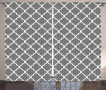 """Ambesonne Grey Curtains, Quatrefoil Pattern Barbed Design Geometric Leaf Print Lattice Country Life Inspired, Living Room Bedroom Window Drapes 2 Panel Set, 108"""" X 108"""", Gray White"""