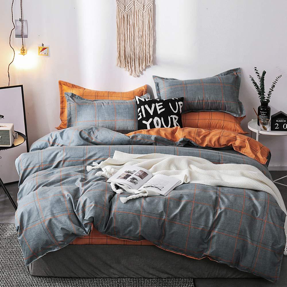 Mengersi Simple Duvet Cover Set with Zipper Bedding Set (Queen, Gray-Blue Grid)