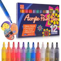 Paint Pens Acrylic Markers Set (12-Color) | For Rock Painting, Glass, Wood, Porcelain, Ceramic, Fabric, Mugs, Metal, Calligraphy and More | Medium Tip | Unique Arts and Crafts