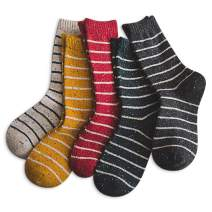 IIG 5 Pairs Women's Vintage Style Thick Wool Warm Winter Crew Socks