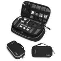 BAGSMART Electronic Organizer Travel Cable Organizer Bag Portable Electronic Accessories Bag for Cable, USB, Black and Grey