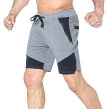 BROKIG Mens Gym Workout Training Basketball Shorts with Side-Zip Pockets