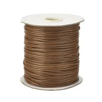 Pandahall 1Roll/93yards 1mm Thick Korean Waxed Cord Polyester Beading Synthetic Fibers Cord Thread for Jewelry Makings Lt Coffee