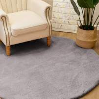 jinchan Round Plush Area Rug Modern Home DecorationFluffy Warm for Girl's Room Bedroom Luxe Area RugCozy Solid Shag Rug Indoor Soft Mat for Living Room Nursery 5' x 5' Gray