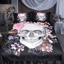 Sleepwish Sugar Skull Rose Bedding Pink Black White Duvet Cover Boys Skull Bedspread 3 Piece Duvet Cover Sets (King)