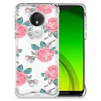 ZIZO Refine Series Motorola Moto g7 Supra Case Slim Clear Flower Pattern Design with PC Metallic Bumper Moto g7 Power Rose