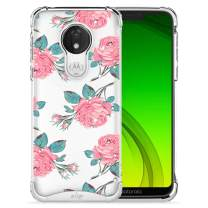 ZIZO Refine Series Motorola Moto g7 Supra Case Slim Clear Flower Pattern Design with PC Metallic Bumper Moto g7 Power Rose