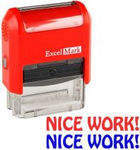 Nice Work! - ExcelMark Self-Inking Two-Color Rubber Teacher Stamp - Perfect for Grading Homework - Red and Blue Ink