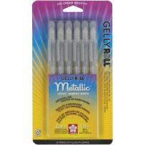 Sakura 57384 6-Piece Gelly Roll Metallic Gel Pen Set, Bold, Silver